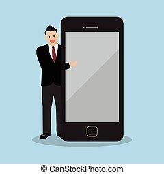 homem negócios, tela, smartphone, apontar