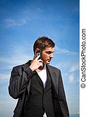 homem negócios, telefone