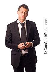 homem negócios, telefone., jovem, segurando