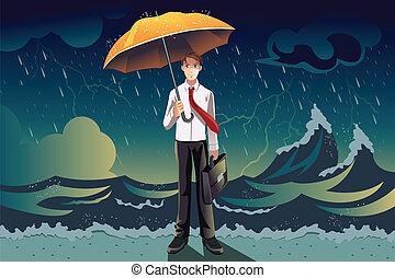 homem negócios, tempestade