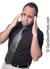 homem negócios, tensão, sofre, headache., jovem