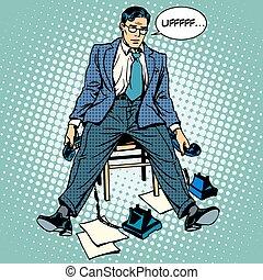 homem negócios, tensão, trabalhando, cansadas
