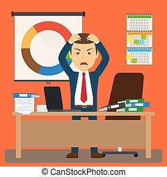 homem negócios, tensão, trabalho