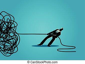 homem negócios, tentando, para, desate, entrelaçado, corda,...