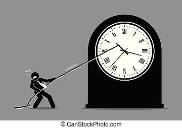 homem negócios, tentando, parada, moving., relógio