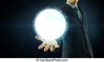 homem negócios, ter, sobre, mão, global, digital, rede, e,...