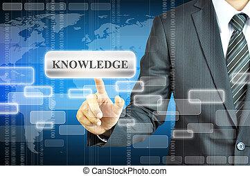 homem negócios, tocar, conhecimento, sinal