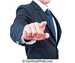 homem negócios, tocar, foco seletivo, dedo