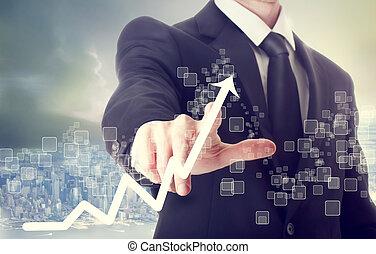 homem negócios, tocar, mapa crescimento, indicar
