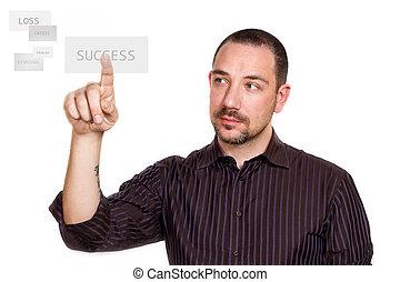 homem negócios, touchscreen, botão urgente, sucesso