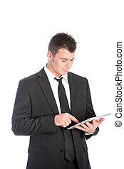 homem negócios, touchscreen, tabuleta, usando