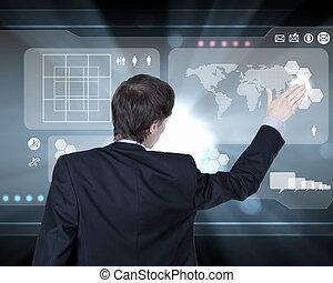homem negócios, trabalhando, com, virtual, tela computador