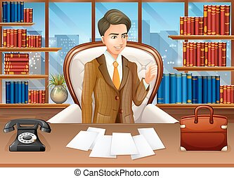 homem negócios, trabalhando escritório