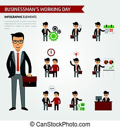 homem negócios, trabalhando, infographic, dia, elements.