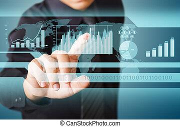 homem negócios, trabalhando, wth, tela toque, tecnologia, (system, computador, software)