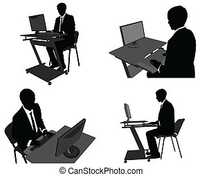 homem negócios, trabalhar, seu, computador
