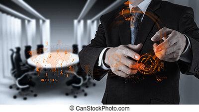 homem negócios, trabalhar, tecnologia moderna