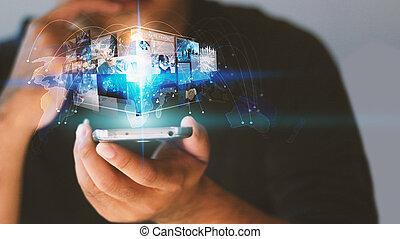 homem negócios, trabalhar, virtual, screen.