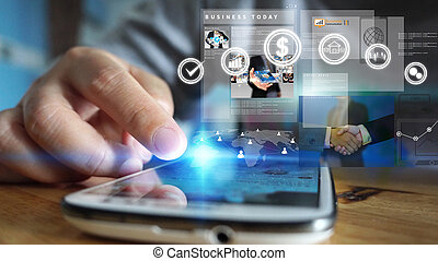 homem negócios, trabalhar, virtual, screen.business, conceito