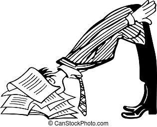 homem negócios, trabalho, cansadas