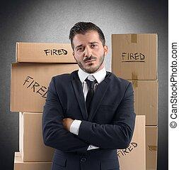 homem negócios, trabalho, despedido