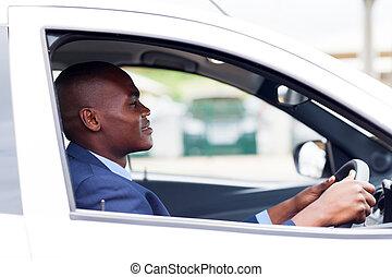 homem negócios, trabalho, dirigindo, africano