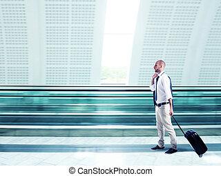 homem negócios, trabalho, viajando