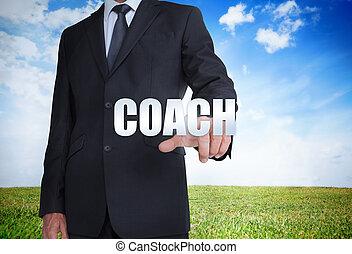 homem negócios, treinador, palavra, selecionar