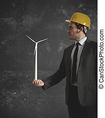 homem negócios, turbina, vento