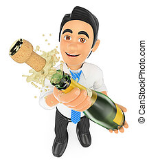homem negócios, uncorking, garrafa champanha, 3d