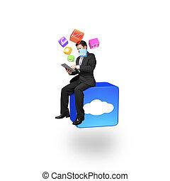homem negócios, usando, esperto, almofada, sentando, ligado, nuvem, app, ícone