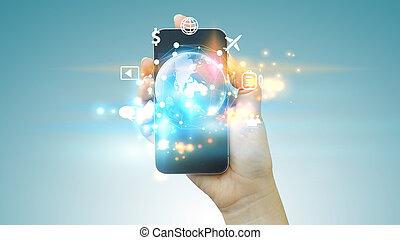 homem negócios, usando, móvel, smartphone., aplicação, ícones, interface, ligado, screen., social, mídia, conceito