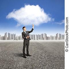 homem negócios, usando, telefone móvel, com, nuvem, computando, e, aplicação, conceito