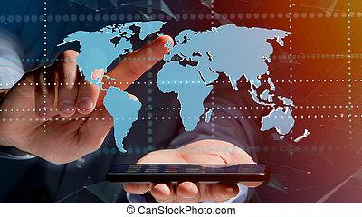 homem negócios, usando, um, smartphone, com, um, conectado, mapa mundial, -, 3d, render