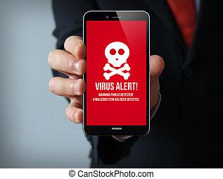 homem negócios, vírus, smartphone