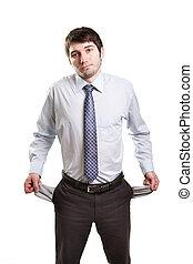 homem negócios, vazio, quebrou, bolsos, triste