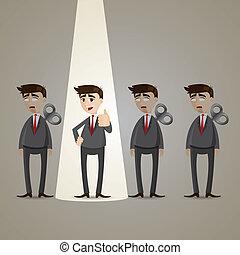 homem negócios, vencedor, caricatura, holofote