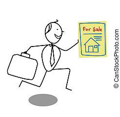 homem negócios, venda, casa