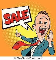 homem negócios, vendedor, venda