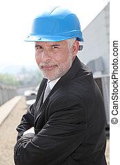 homem negócios, verificar, local industrial