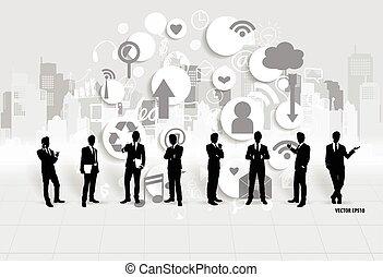 homem negócios, vetorial, application., illustration., nuvem