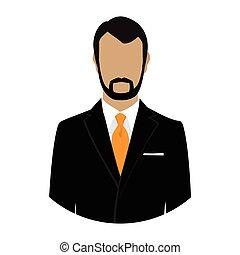 homem negócios, vetorial, avatar