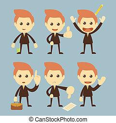 homem negócios, vetorial, jogo, caricatura