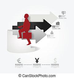 homem negócios, vetorial, papel, ou, estilo, ser, seta, site web, corte, modelo, esquema, infographics, usado, lata, escada, /, cima, gráfico