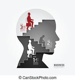 homem negócios, vetorial, papel, ou, estilo, ser, site web, corte, modelo, esquema, infographics, usado, lata, escada, /, cima, gráfico