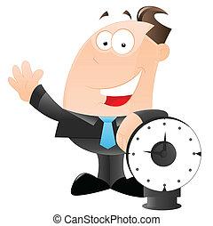 homem negócios, vetorial, relógio