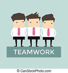homem negócios, vetorial, trabalho equipe