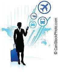 homem negócios, viajando, ao redor, mundo