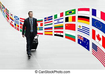 homem negócios, viajando, internacional