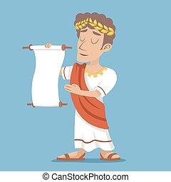 homem negócios, vindima, personagem, ilustração, scroll, grego, romana, vetorial, desenho, retro, fundo, declaração, elegante, caricatura, ícone